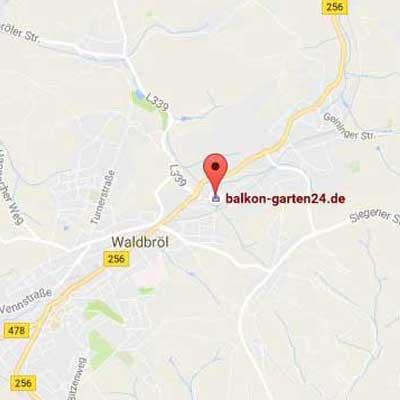 Wegbeschreibung zu balkon-garten24.de in Waldbröl